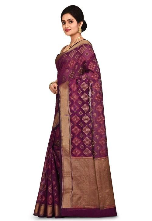 Woven Banarasi Cotton Silk Saree in Purple 7