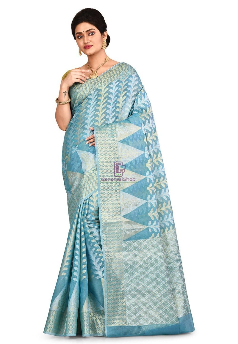Woven Banarasi Cotton Silk Saree in Sky Blue 1