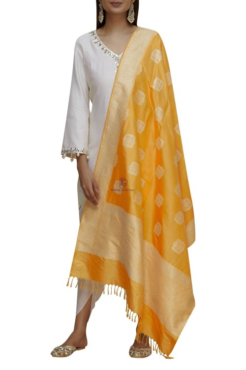 Handloom Banarasi Pure Katan Silk Dupatta in Mango Orange 4
