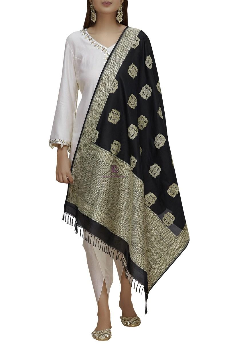 Handloom Banarasi Pure Katan Silk Dupatta in Black 1