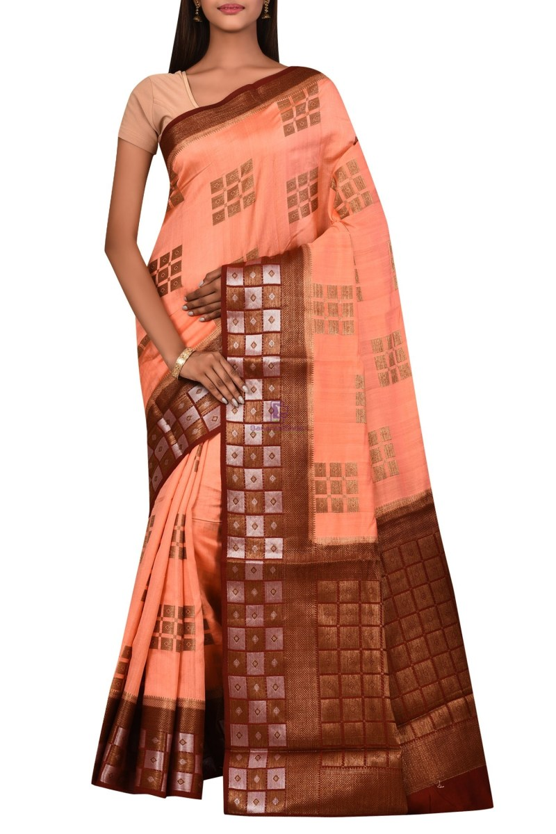 Banarasi Dupion Silk Saree with Unstitched Blouse Fabric 1