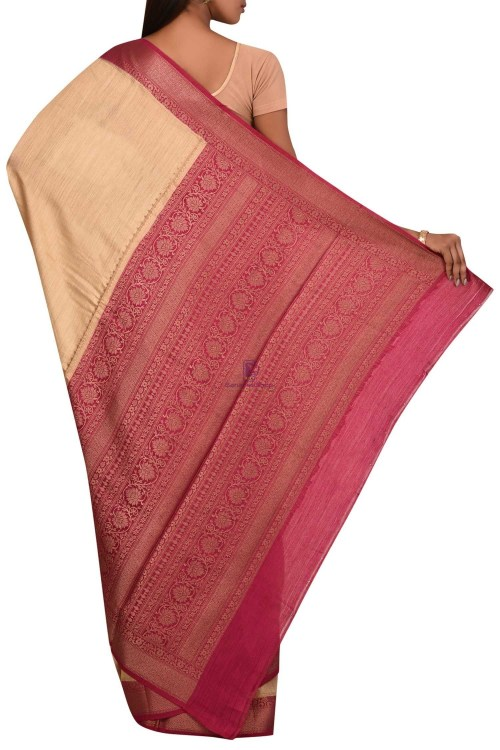 Pure Woven Banarasi Muga Silk Saree with Unstitched Blouse Fabric 5