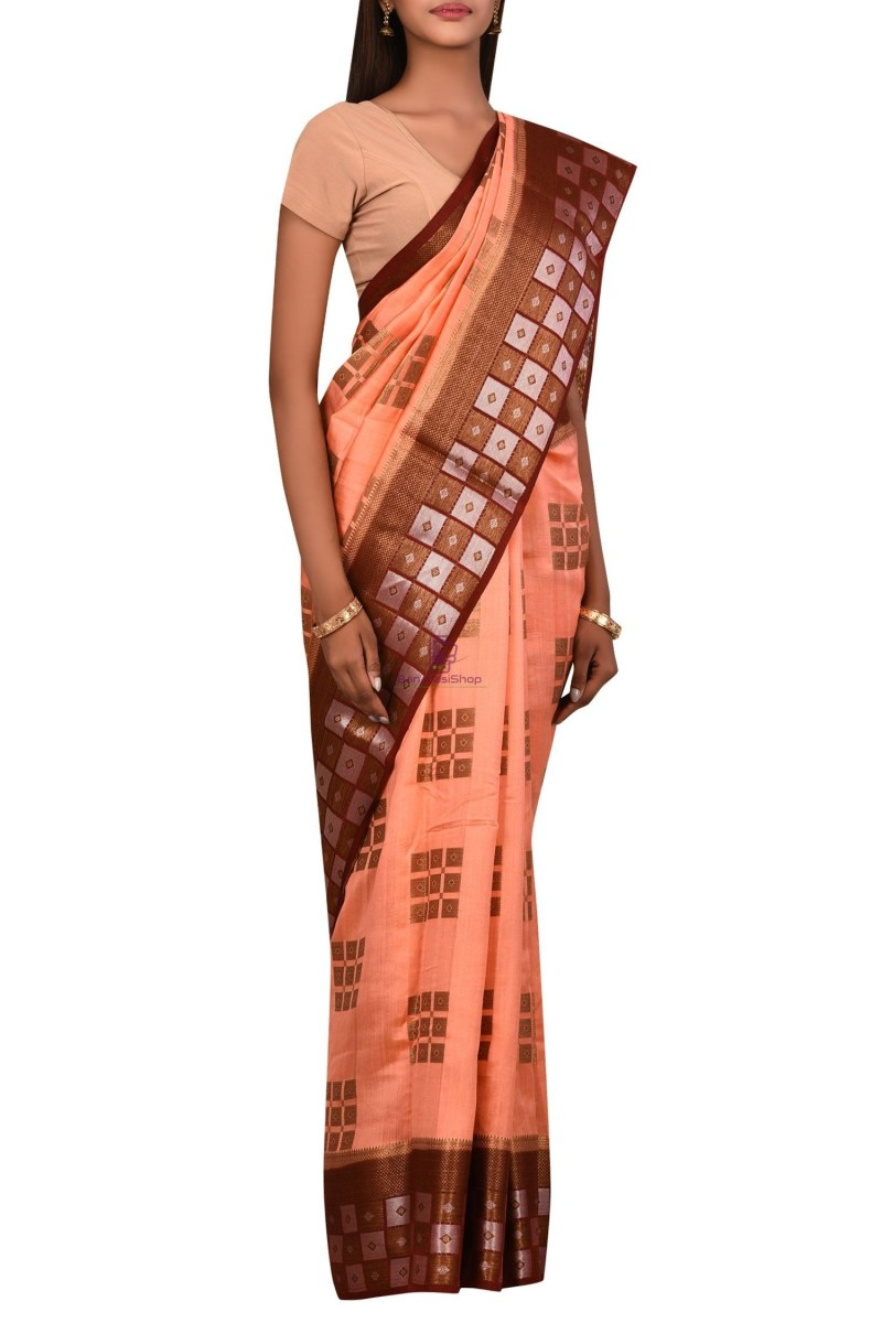 Banarasi Dupion Silk Saree with Unstitched Blouse Fabric 3