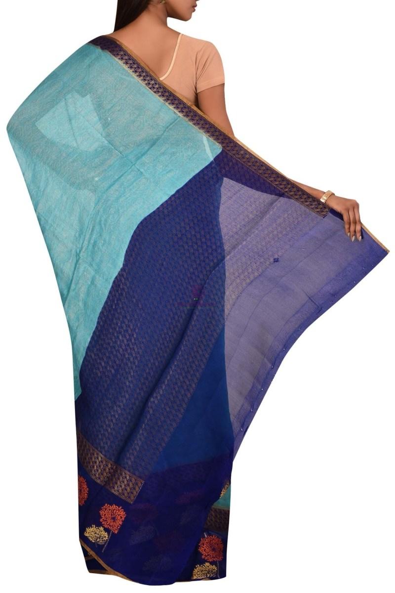 Banarasi Pure Chiffon Silk Saree with Unstitched Blouse Fabric 2