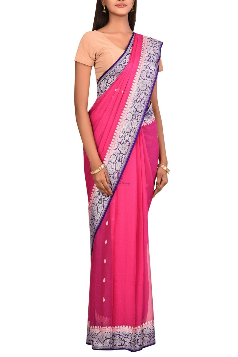 Pure Banarasi Handloom Khaddi Georgette Silk Saree with Unstitched Blouse Fabric 3