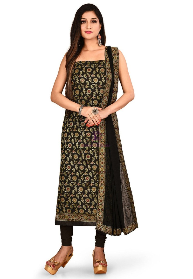 Woven Banarasi Cotton Silk Straight Suit in Black 1
