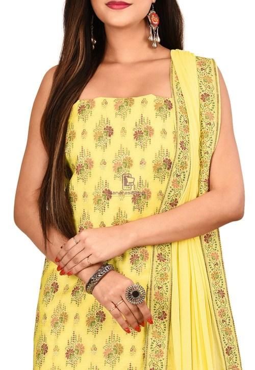Woven Banarasi Cotton Silk Straight Suit in Light Yellow 3