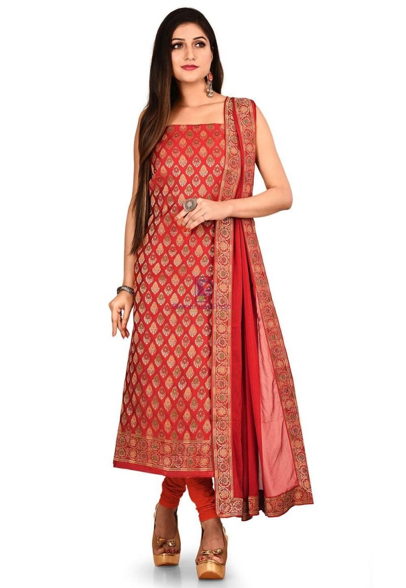 Woven Banarasi Cotton Silk Straight Suit in Red 1