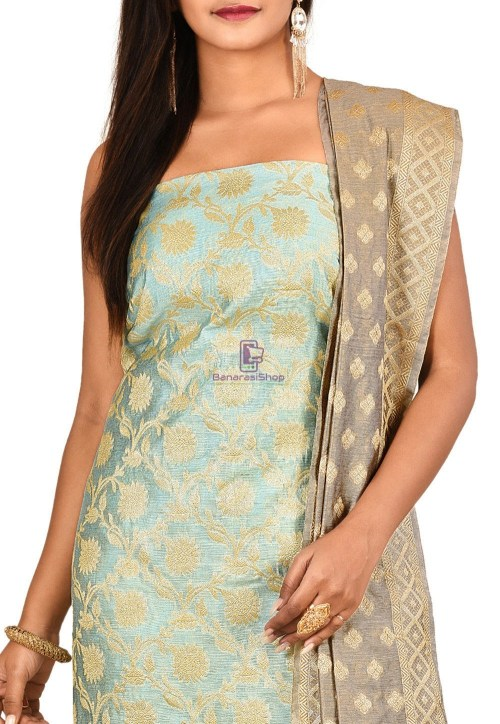 Woven Banarasi Cotton Silk Straight Suit in Sky Blue 3