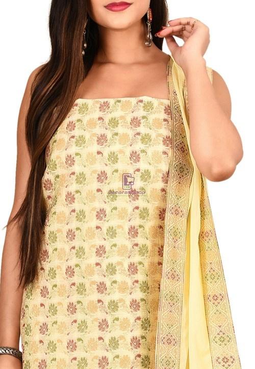 Woven Banarasi Silk Straight Suit in Cream 3