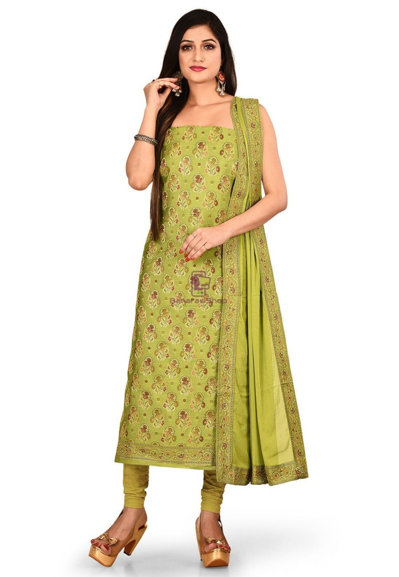 Woven Banarasi Silk Straight Suit in Light Green 1