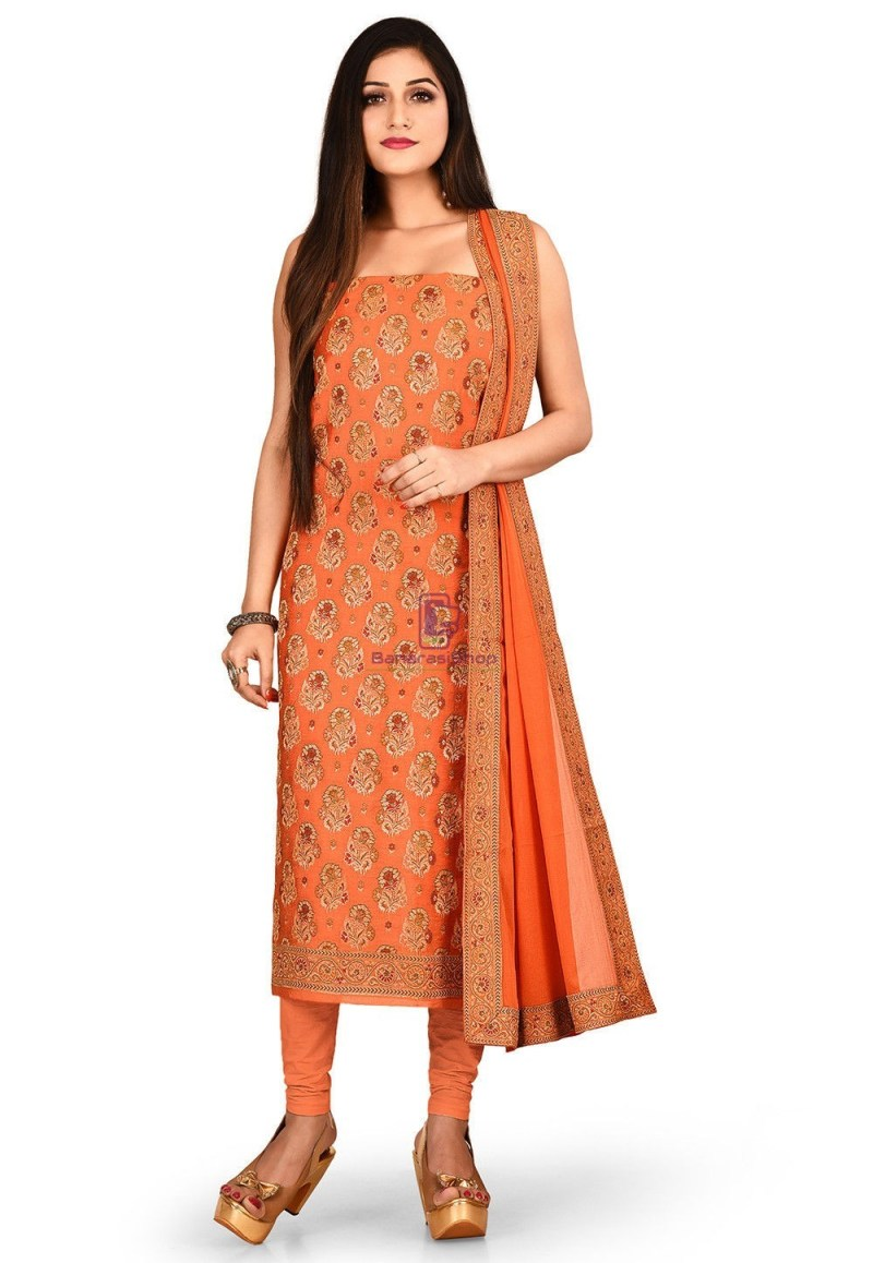 Woven Banarasi Silk Straight Suit in Orange 1