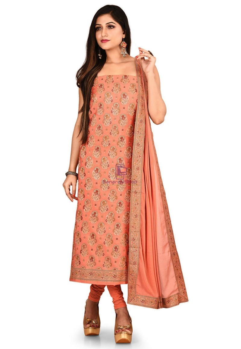 Woven Banarasi Silk Straight Suit in Peach 1