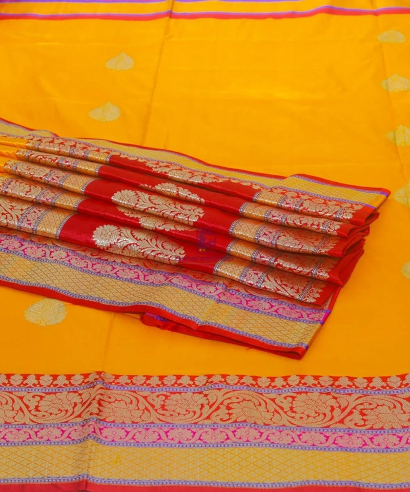 Banarasi Pure Katan Silk Handloom Yellow Saree 1