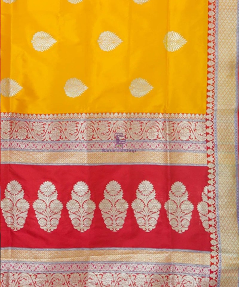 Banarasi Pure Katan Silk Handloom Yellow Saree 3