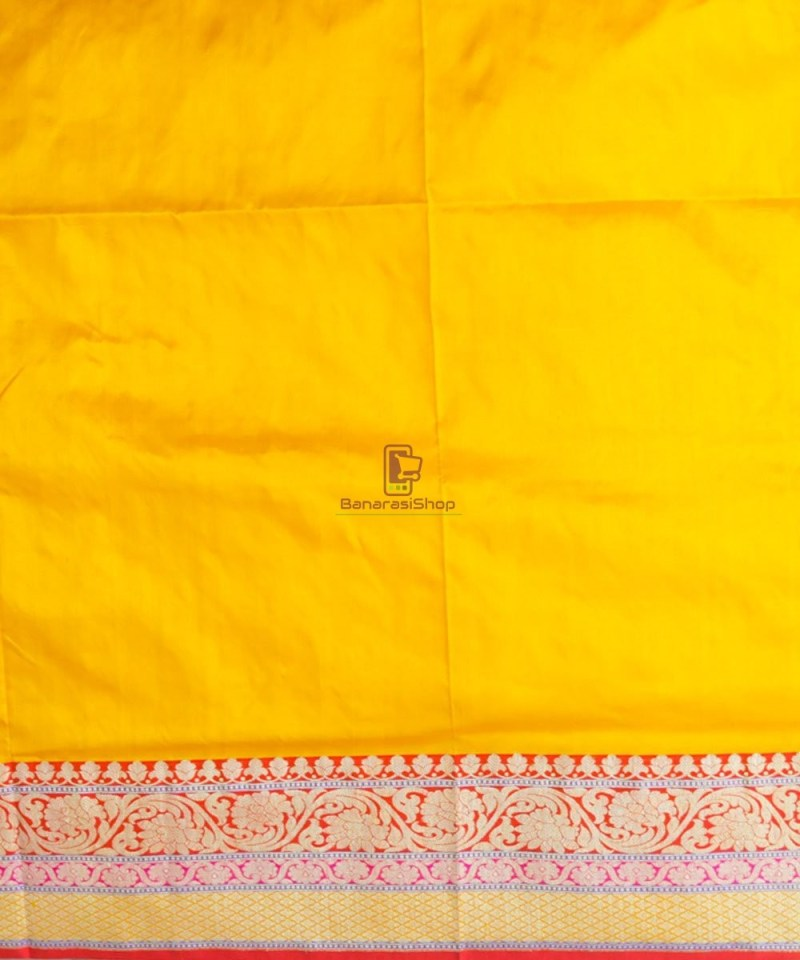 Banarasi Pure Katan Silk Handloom Yellow Saree 4