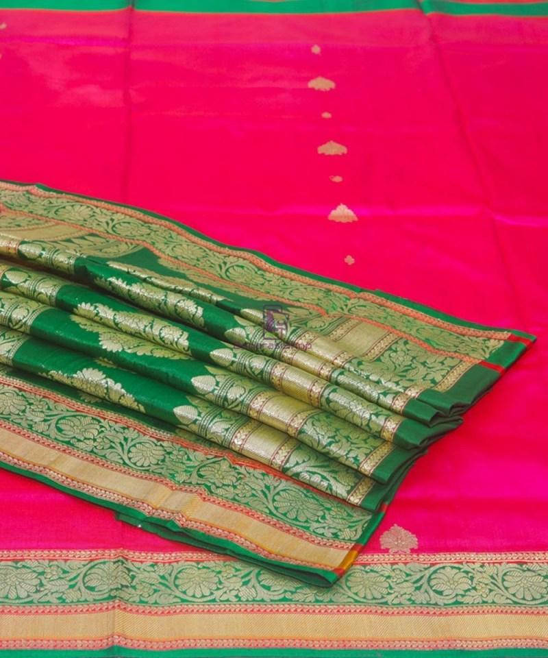 Banarasi Pure Katan Silk Handloom Pink and Green Saree 1