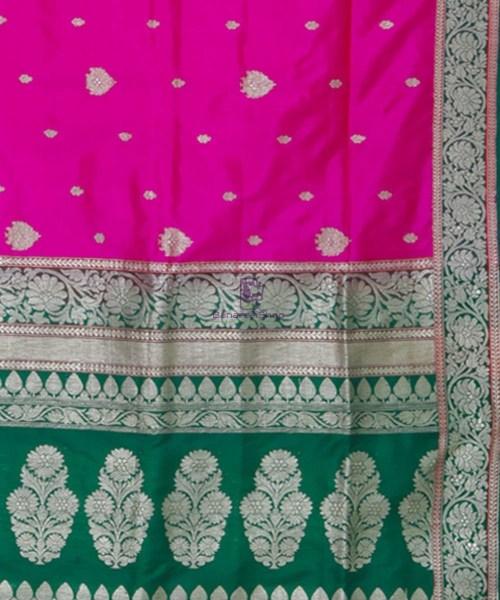 Banarasi Pure Katan Silk Handloom Pink and Green Saree 6