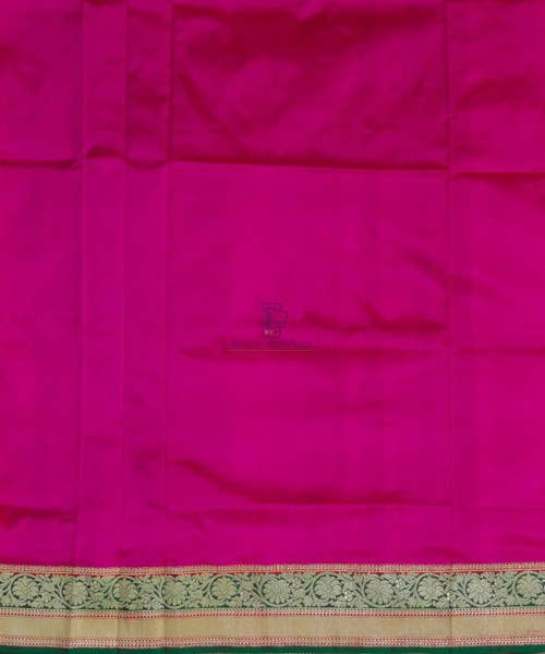 Banarasi Pure Katan Silk Handloom Pink and Green Saree 7