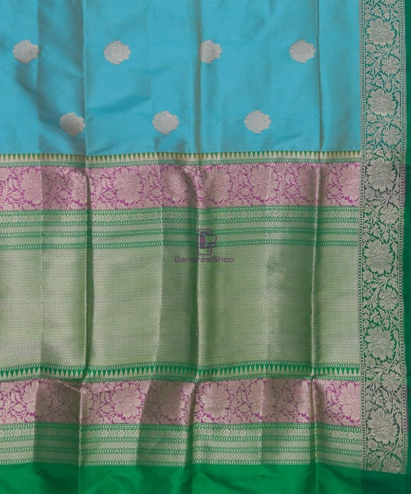 Banarasi Pure Katan Silk Handloom Sky Blue Green Saree 3