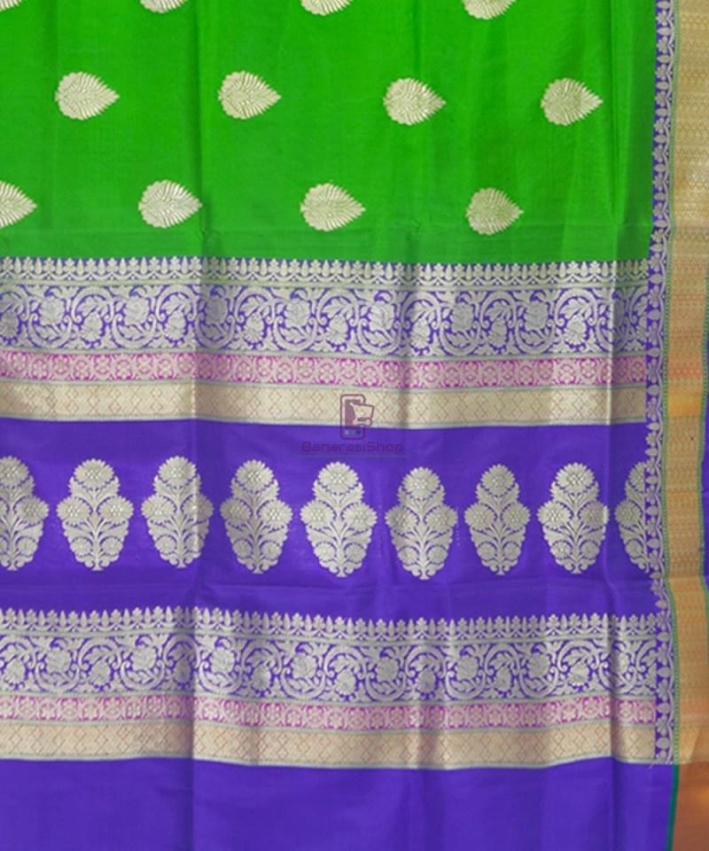 Banarasi Pure Katan Silk Handloom Parrot Green Saree 3