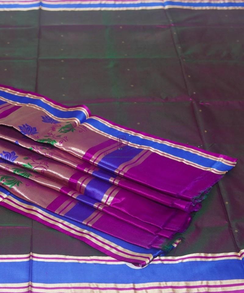 Banarasi Pure Katan Silk Handloom Wine Purple Saree 1