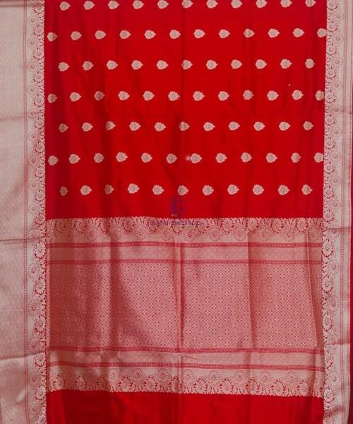Banarasi Pure Katan Silk Handloom Cherry Red Saree 5