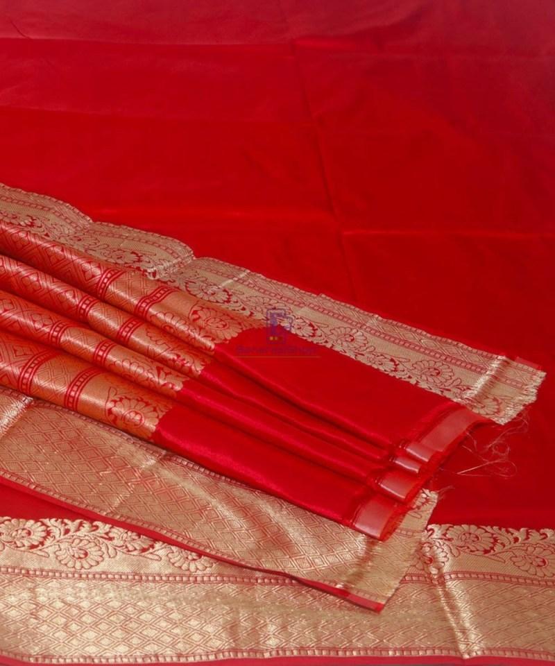 Banarasi Pure Katan Silk Handloom Ruby Red Saree 1