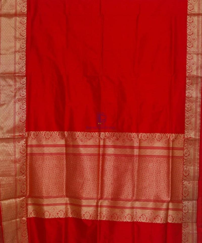 Banarasi Pure Katan Silk Handloom Ruby Red Saree 2
