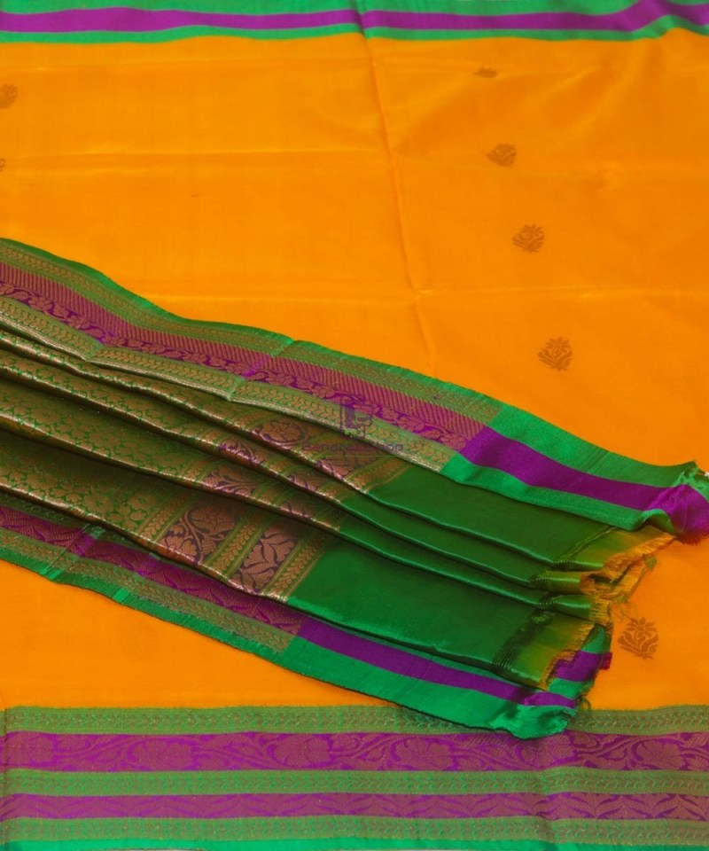 Banarasi Pure Katan Silk Handloom Yellow Green Saree 1