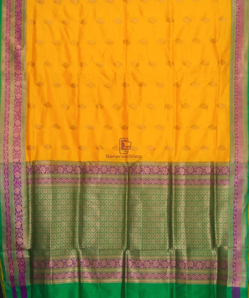 Banarasi Pure Katan Silk Handloom Yellow Green Saree 2