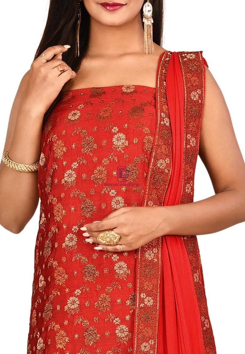 Woven Banarasi Art Silk Straight Suit in Red 2
