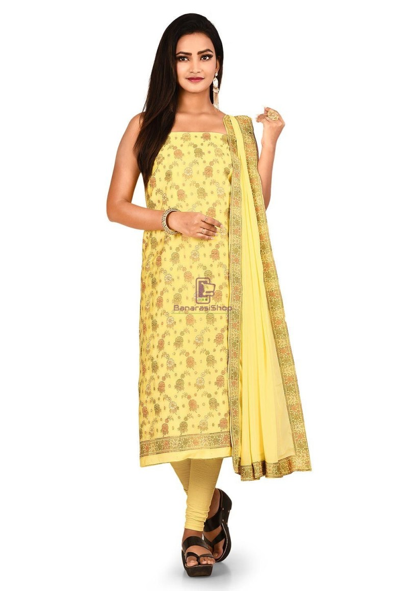 Woven Banarasi Art Silk Straight Suit in Yellow 1