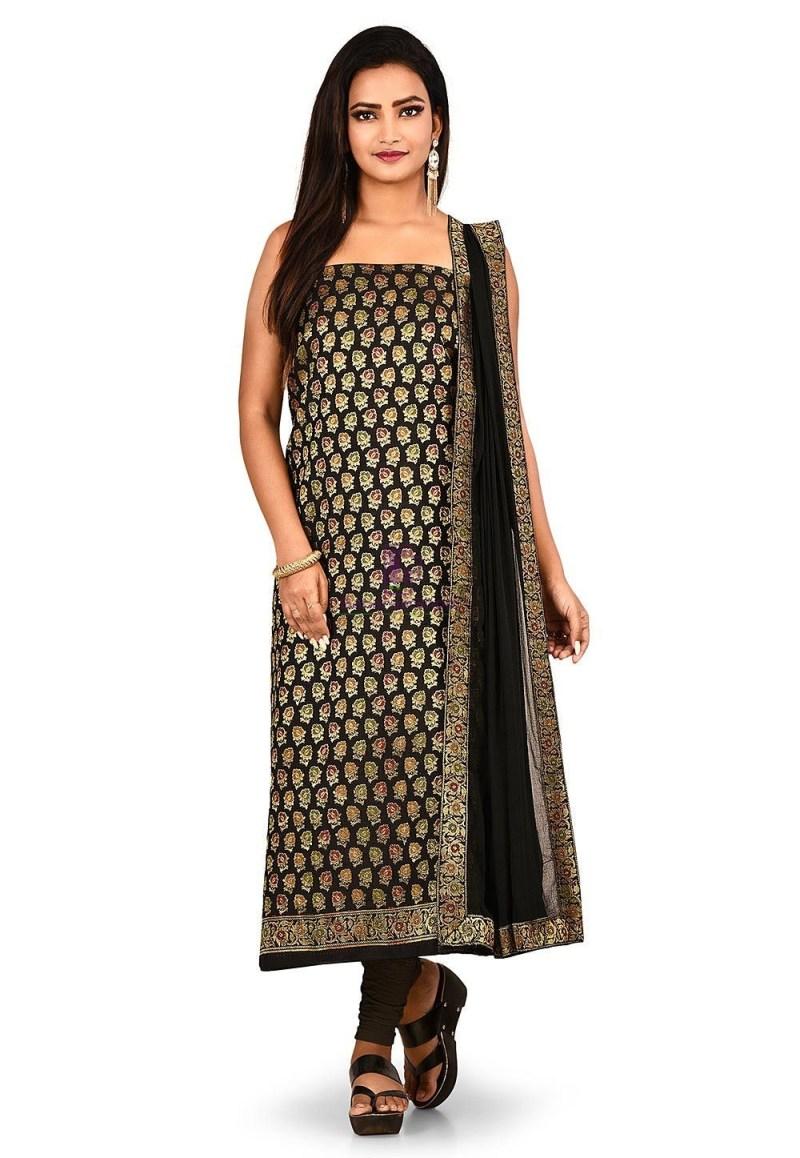 Woven Banarasi Cotton Silk Straight Suit in Black 1