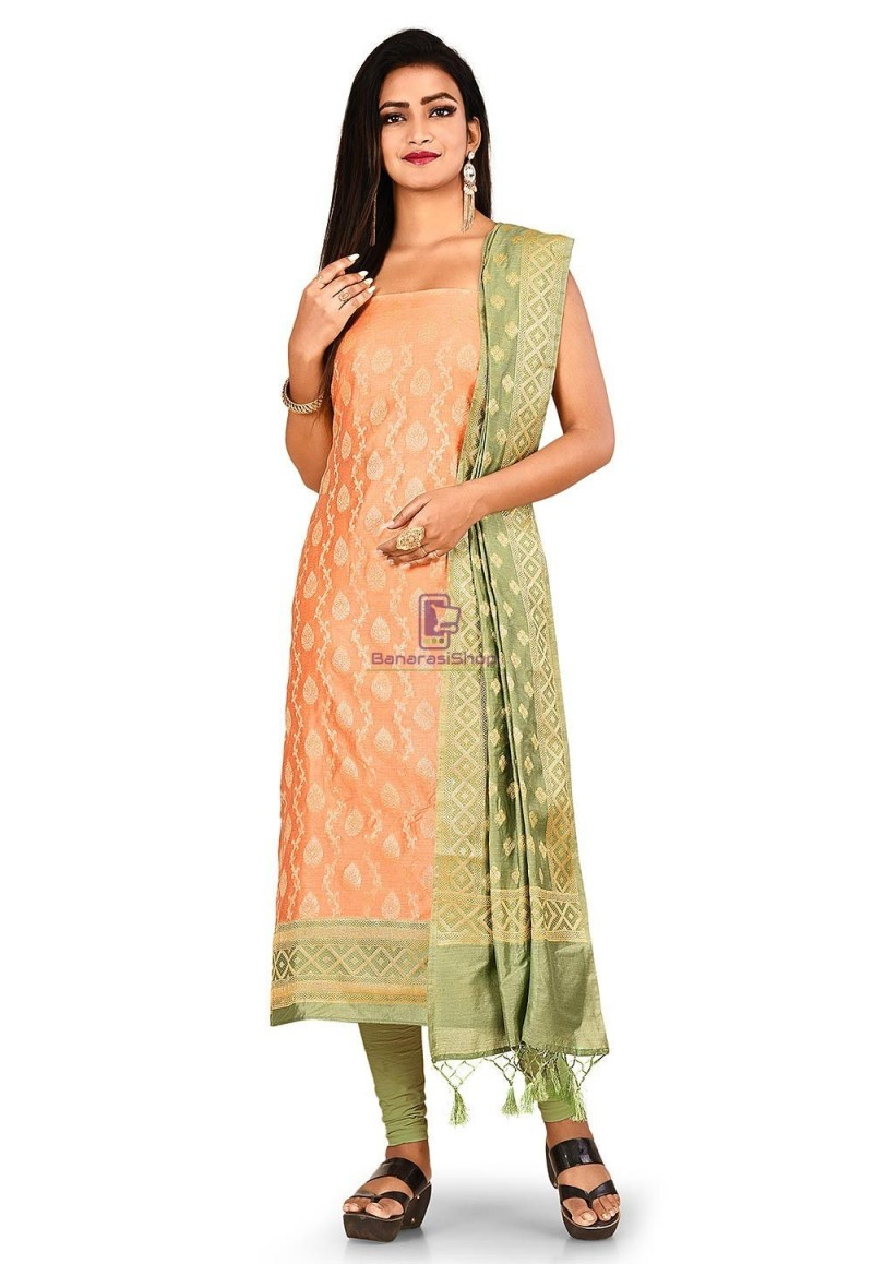 Woven Banarasi Cotton Silk Straight Suit in Peach 1