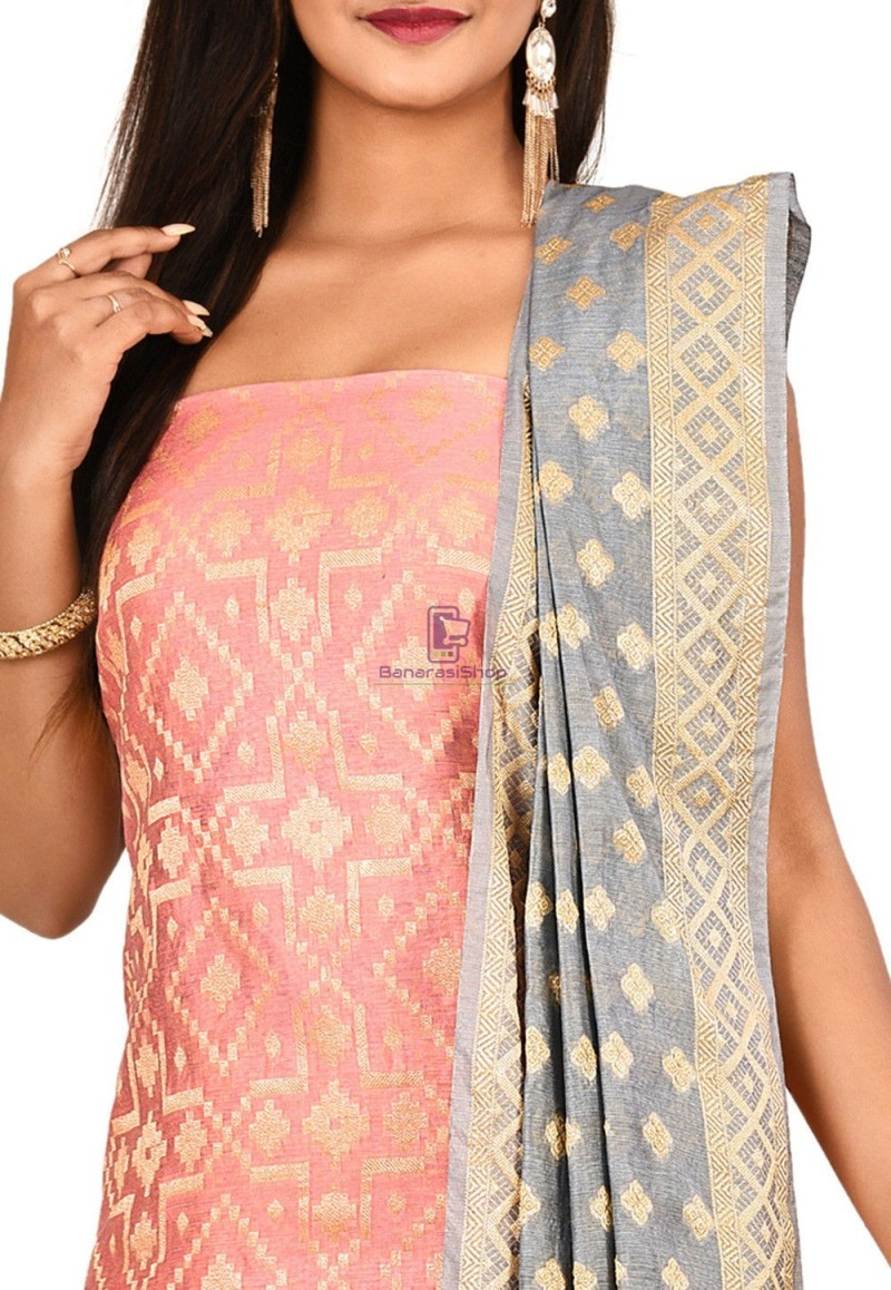 Woven Banarasi Cotton Silk Straight Suit in Pink 2