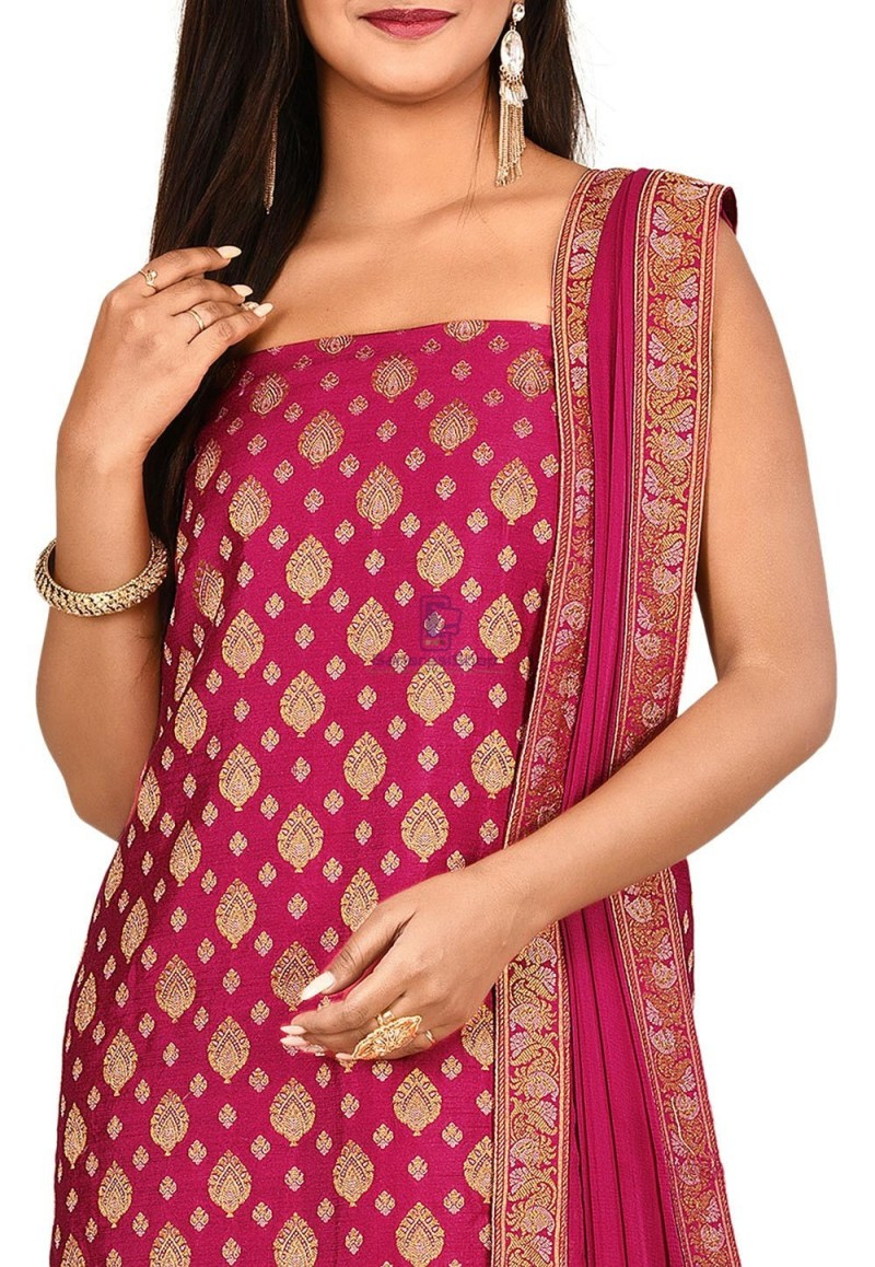 Woven Banarasi Cotton Silk Straight Suit in Pink 2