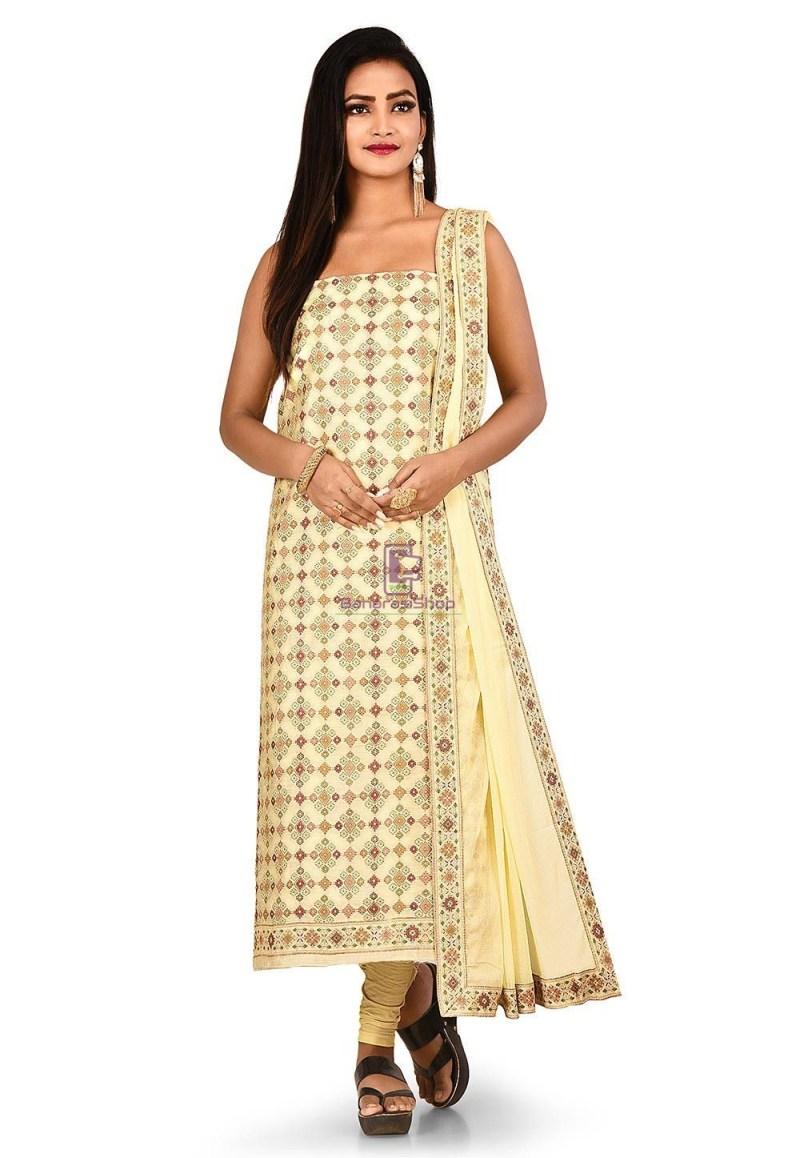 Woven Banarasi Cotton Silk Straight Suit in Cream 1