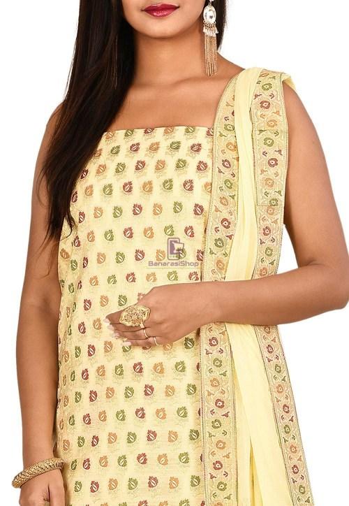 Woven Banarasi Cotton Silk Straight Suit in Cream 3