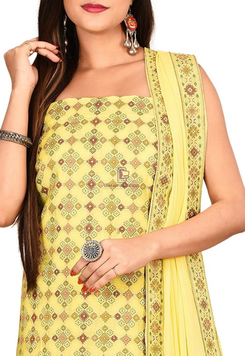 Woven Banarasi Cotton Silk Straight Suit in Yellow 3