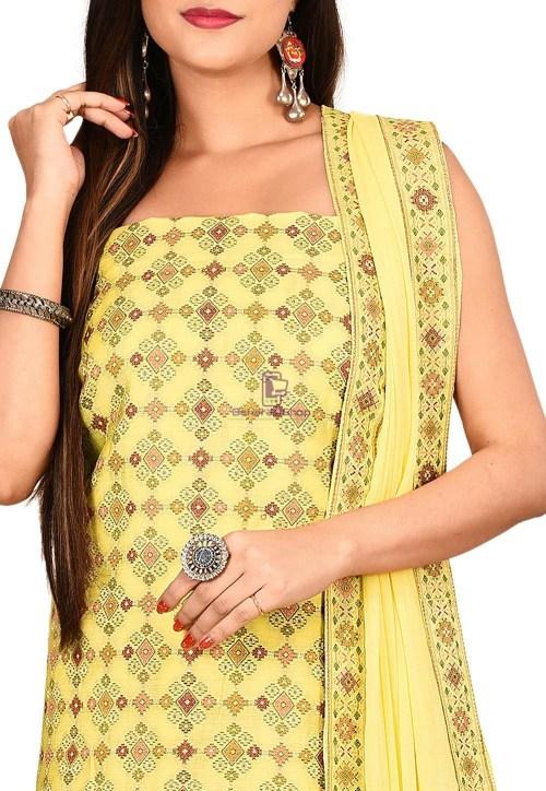 Woven Banarasi Cotton Silk Straight Suit in Yellow 3