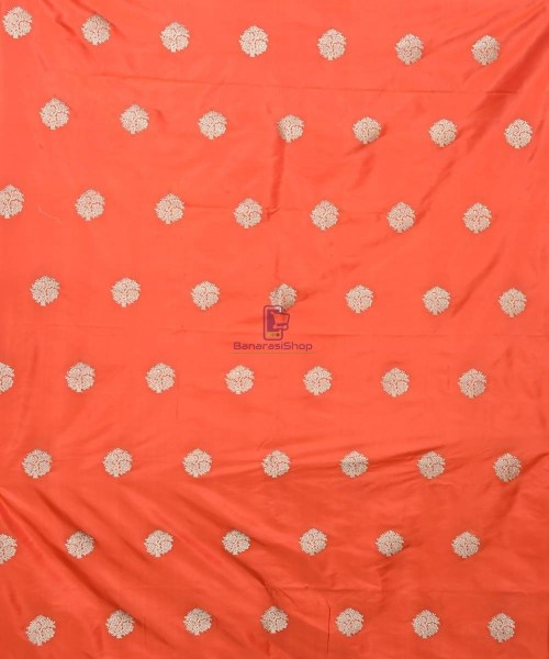 Banarasi Pure Handloom Katan Silk Fabric in Fire Orange 3