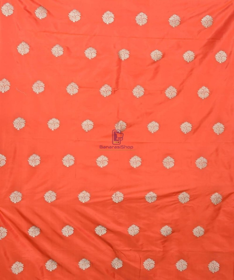 Banarasi Pure Handloom Katan Silk Fabric in Fire Orange 2
