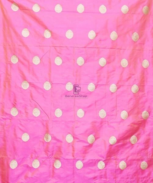 Banarasi Pure Handloom Katan Silk Fabric in Pink 3