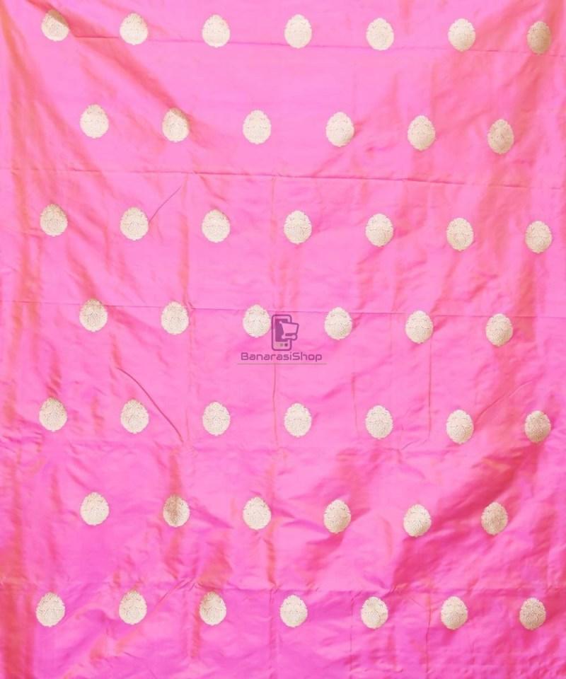 Banarasi Pure Handloom Katan Silk Fabric in Pink 2