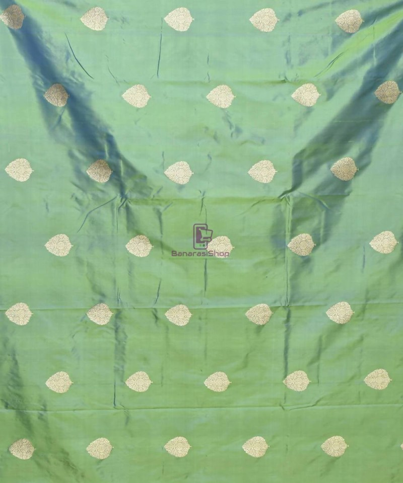Banarasi Pure Handloom Katan Silk Fabric in Ocean Green 2