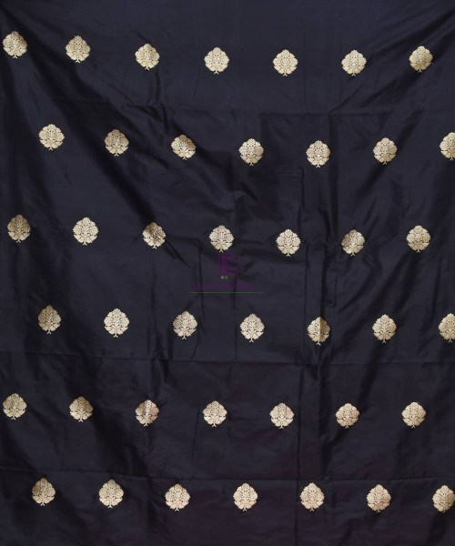 Banarasi Pure Handloom Katan Silk Fabric in Black 3
