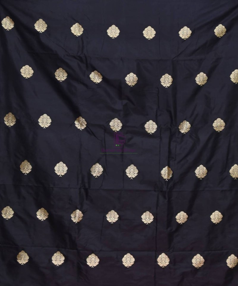 Banarasi Pure Handloom Katan Silk Fabric in Black 2