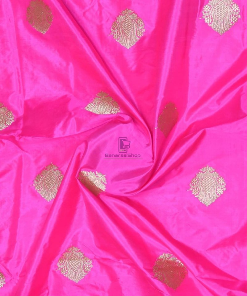Banarasi Pure Handloom Katan Silk Fabric in Bright Pink 1