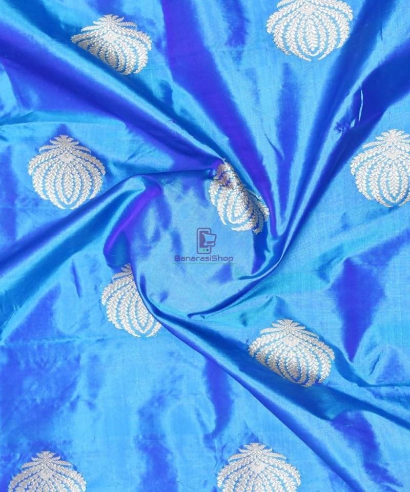 Banarasi Pure Handloom Katan Silk Fabric in Cerulean Blue 1